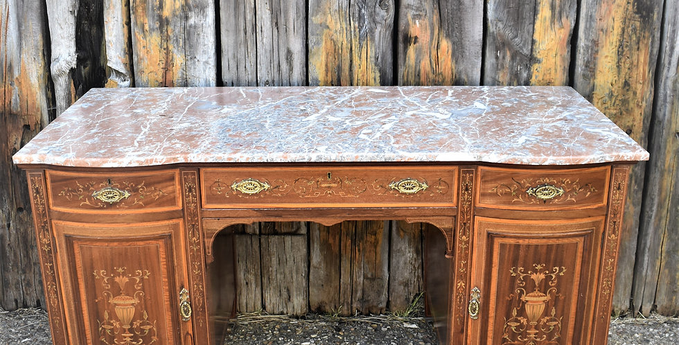Antique S & H Jewell Marble Topped Victorian Inlaid Desk Washstand Console