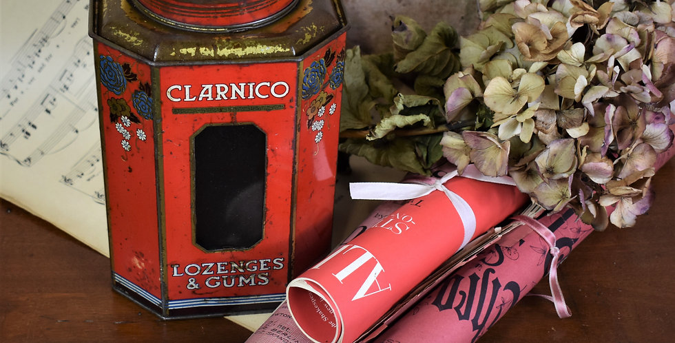 Antique 1920s Clarnico Lozenges & Gums Tin Toleware Sweet Shop Display England