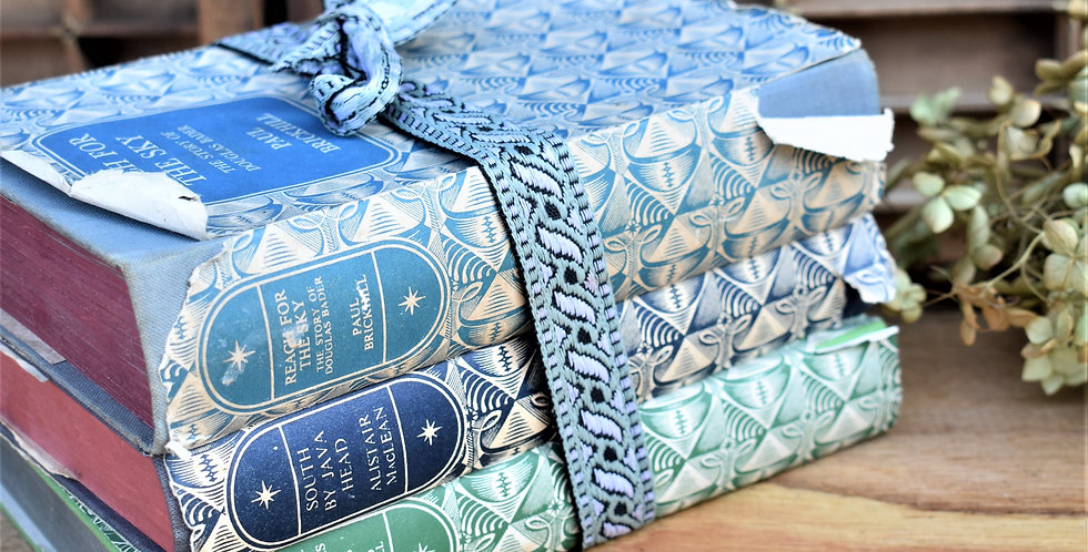 Vintage Stack Blue Green Books Bundle for Interior Styling
