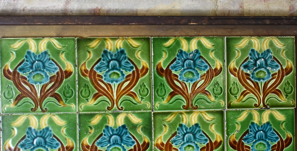 Antique 1900s Daffodil Majolica Art Nouveau Tiles Relief Moulded 7 Available