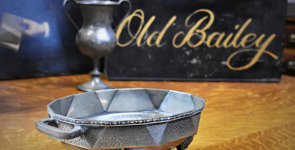 Antique Craftsman Hand Beaten Pewter Dish Footed Handled Bowl Sheffield England