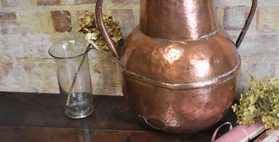 Antique 18th Century Hand Beaten Copper Vase Water Vessel Two Handled French