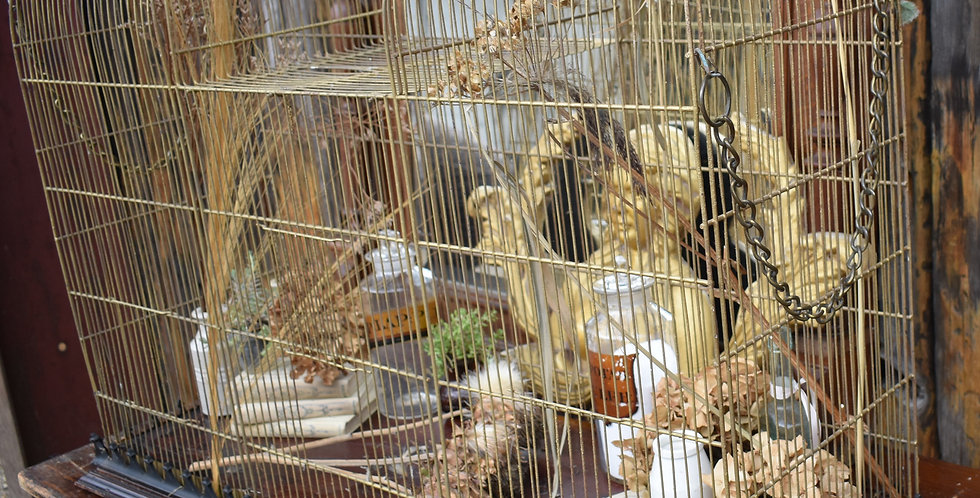 Large Antique 1920s Gilt Bird Cage Aviary Parrot Cage Double Decorative Planter