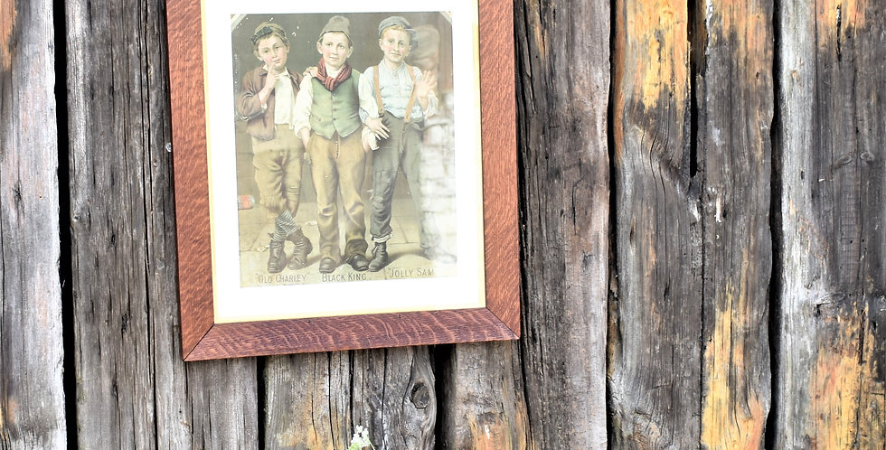 Antique Victorian School Boys Advertising Poster Old Charley Jolly Sam Picture
