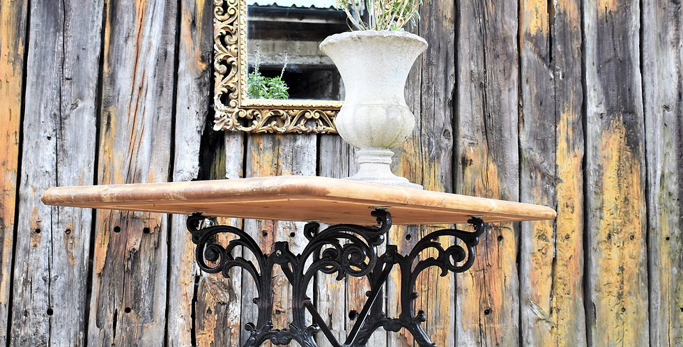 Antique Cast Iron Table Pine Wooden Top Kitchen Outdoor Garden Dining Table