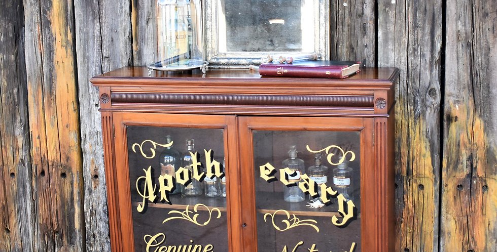 Antique Apothecary Cabinet Shop Display Sign Writing Advertising Glazed