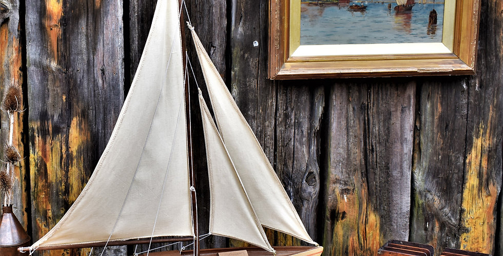 Vintage Painted Wooden Pond Yacht Boat Interior Decorative Display
