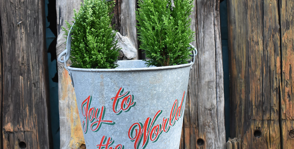 Vintage Joy to The World Hand Painted Christmas Tree Bucket Galvanised Planter
