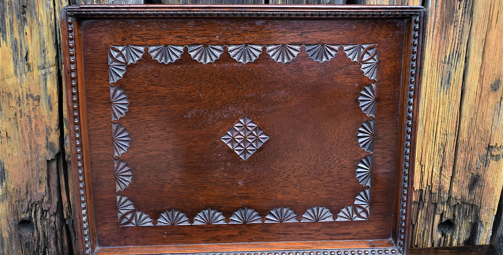 Antique Vintage Oak Serving Tray Carved Fan Detail Plaque
