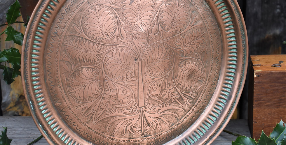 Antique Asian Tree of Life Copper Tray Engraved Signed Indian Wall Platter