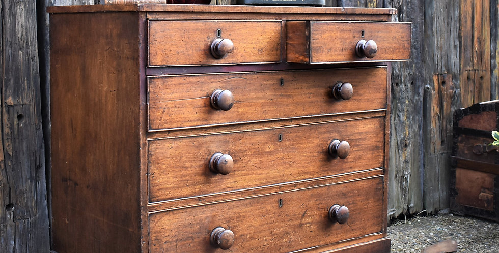 Antique Victorian 19th Century Mahogany Chest of Drawers Storage Bank of Drawers