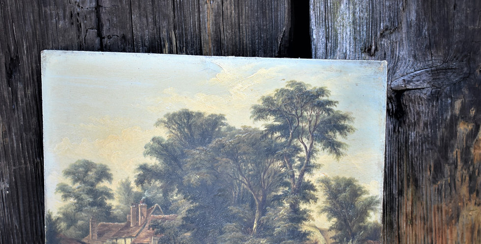 Antique Victorian Landscape with Trees Oleography Print Picture On Board