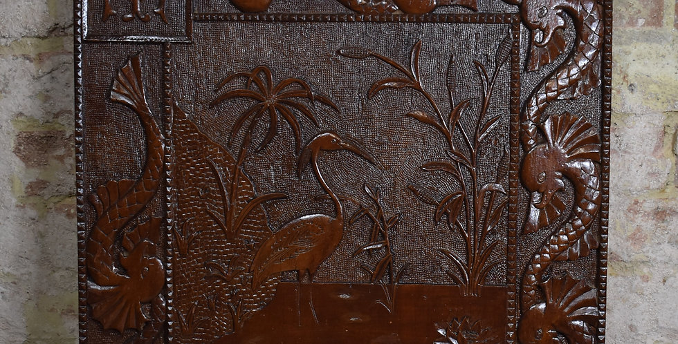Antique Oriental Chinese Plaque Wooden Carved Panel Crane Heron Dragon