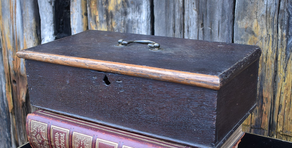 Antique 18th Century Georgian Oak Candle Box Ironmongers Daniel Dolley Label