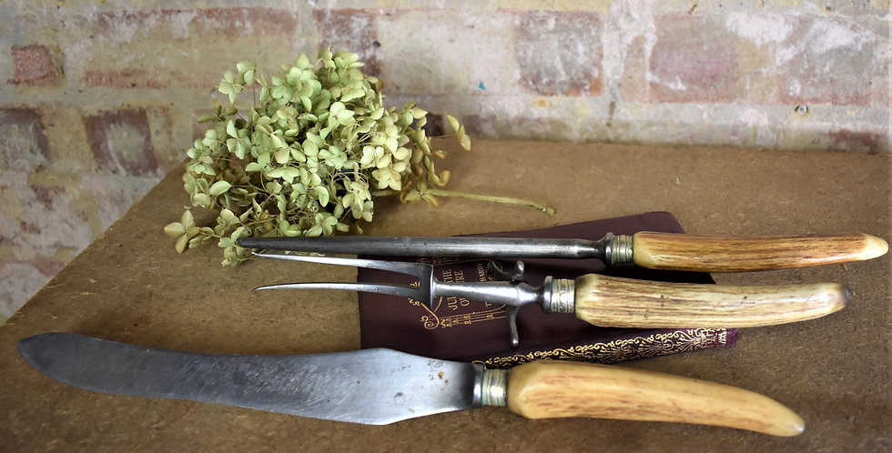 Antique Horn Handled Three Piece Carving Set