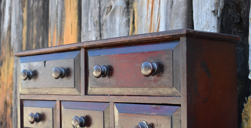 Antique Victorian Bank of Drawers Cabinet Apothecary Haberdashery Mahogany Right