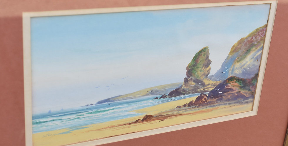 Vintage Original Seascape Watercolour By S. Perry Wall Art