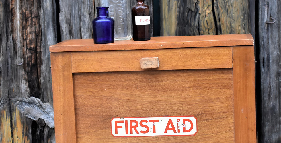 Vintage First Aid Medical Wall Cabinet Bathroom Doctors Red Cross Box