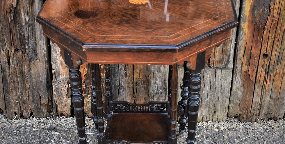 Antique 1880 Victorian Rosewood Table Ebonised Aesthetic Movement Turned Legs