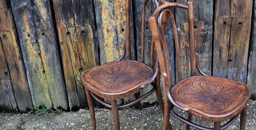 Antique 1920s 1930s Pair Embossed Bentwood Art Nouveau Bistro Chairs