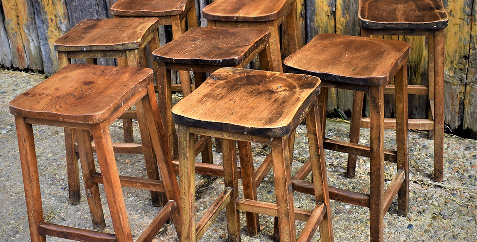 Vintage Original Laboratory Bar Stools Elm and Beech 2 Available Price Each