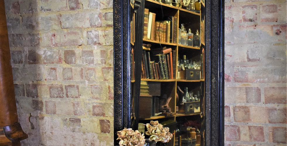 Antique Ebonised Narrow Mirror Bevelled Old Looking Glass