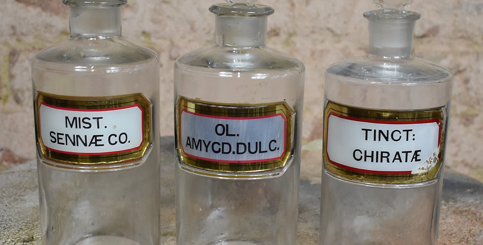 Antique Victorian Apothecary Bottles Chemist York Glass Company Glass Label 3