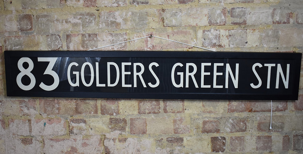 Vintage Original Bus Blind London Route Master 83 Golders Green Station Framed