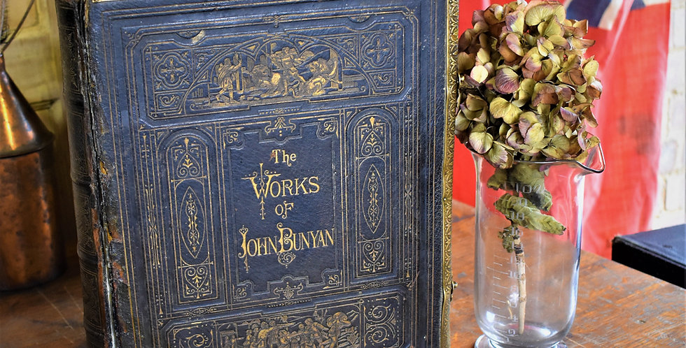 Antique Victorian Fine Leather Binding Bunyan's Choice Works Book Cassell