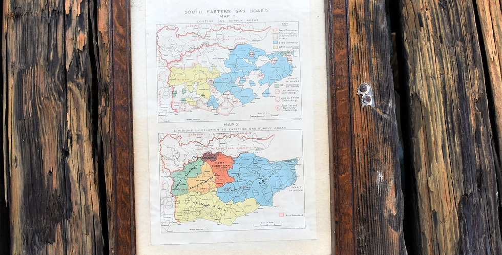 Vintage South Eastern Gas Board Map in Oak Frame Decorative Wall Art