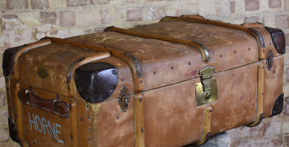 Antique Vintage Featherweight Bentwood Banded Travel Trunk Steamer Flaxite Fibre