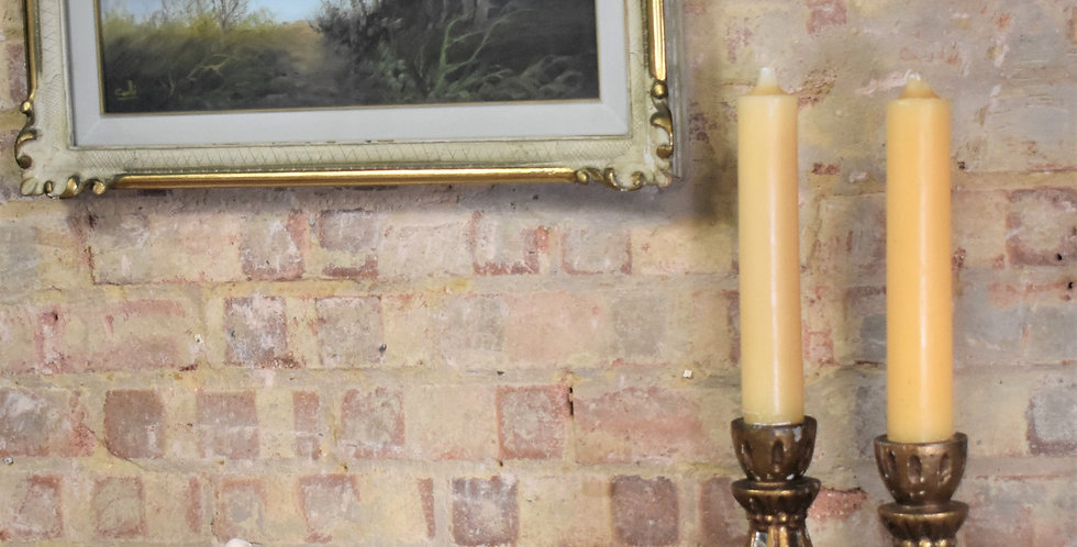 Antique Vintage Stunning Gilt Mirrored Plaster Candlesticks Pair with Candles
