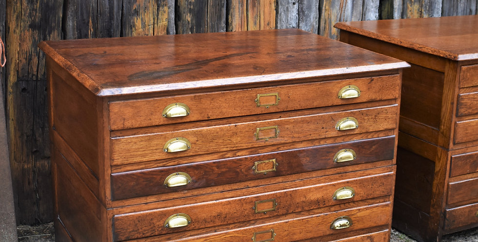 Antique Oak Plan Chest Bank of Drawers Draughtsman Cabinet