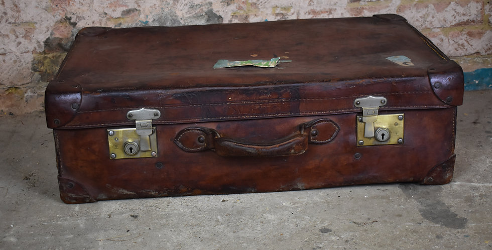 Vintage props leather travel trunk case travel stickers