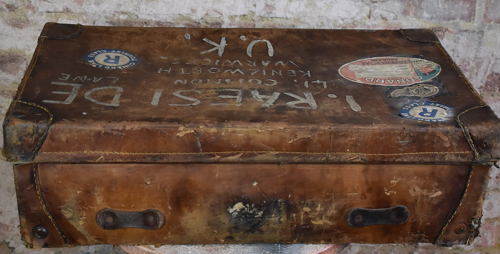 Antique Leather Suitcase England Travel Case RMS Sylvania Cunard Cook's Travel