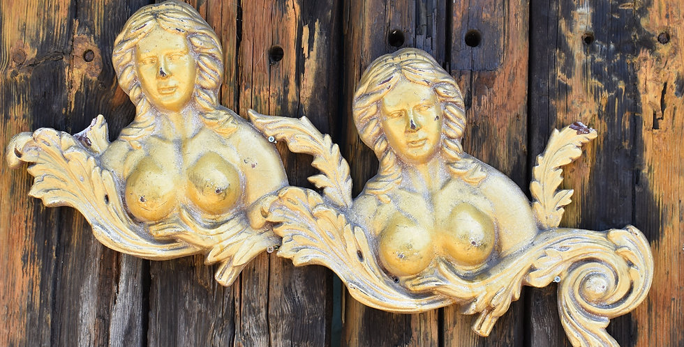 Vintage Gilt Ladies Theatre Decoration London Figures Covent Garden Salvage