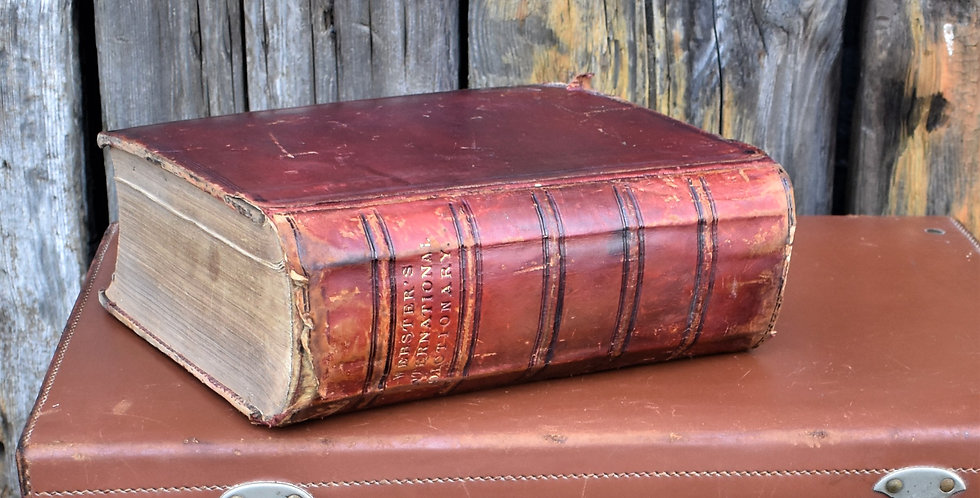 Antique Rare 1890 Webster's English Dictionary Illustrations Leather Bound