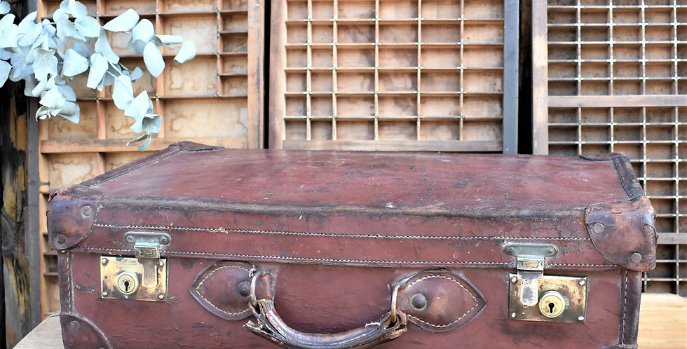 Antique Brown Leather Suitcase Travel Case Storage Staging