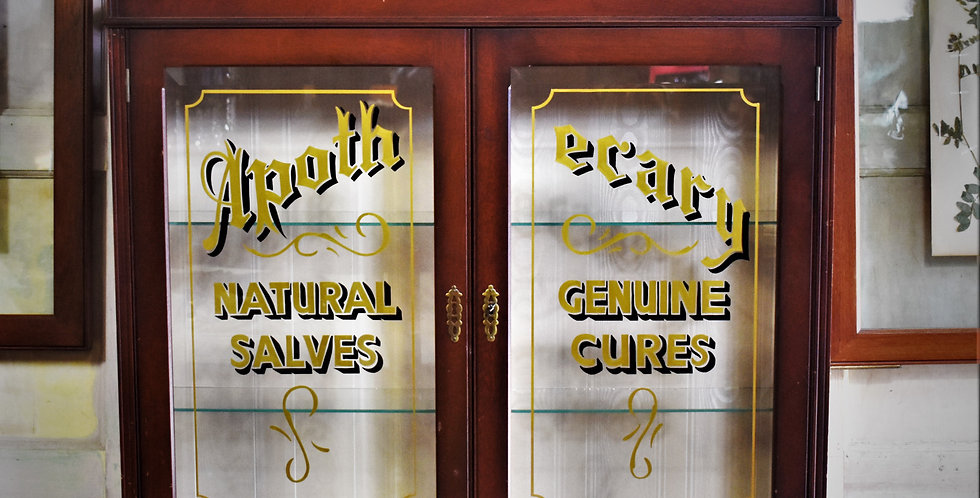 Vintage Apothecary Glass Wall Cabinet Shop Display Sign Writing Advertising