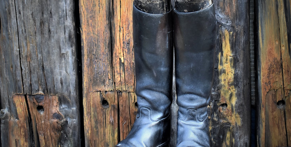 Antique Gentlemen's Leather Riding Boots Wooden Boot Trees Equestrian