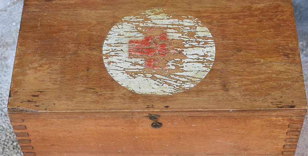 Vintage Oak First Aid Box Dovetail Joints Medical Wooden Nursing Red Cross