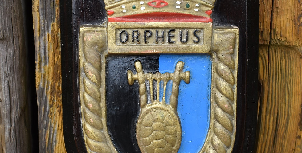 Vintage HMS Orpheus Submarine Boat Ship Hand Painted Shield Wall Plaque