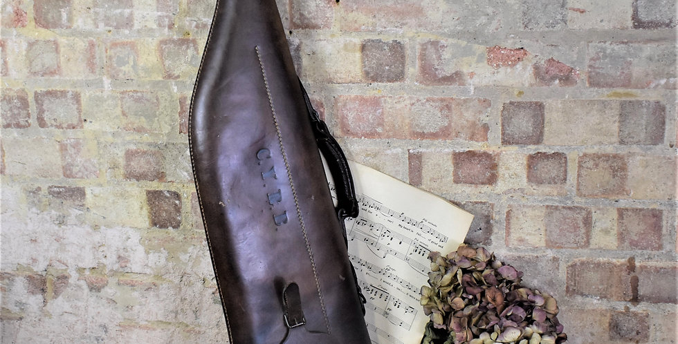 Antique Brown Leather Leg of Mutton Gun Travel Case with Monogram
