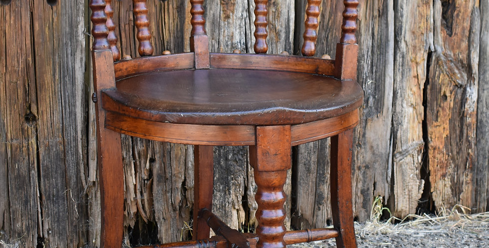 Antique Oak 19th Century Armchair Bobbin Turned Wood Carved Chair