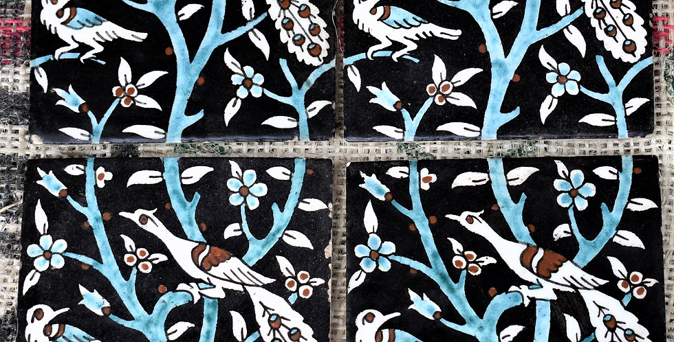 Vintage 13 Hand Painted Bird Flowering Wall Floor Tiles Salvage Reclaimed Black