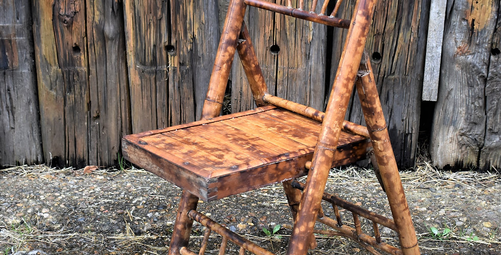 Antique Victorian Tortoise Shell Bamboo Folding Chair Scorched Side Table