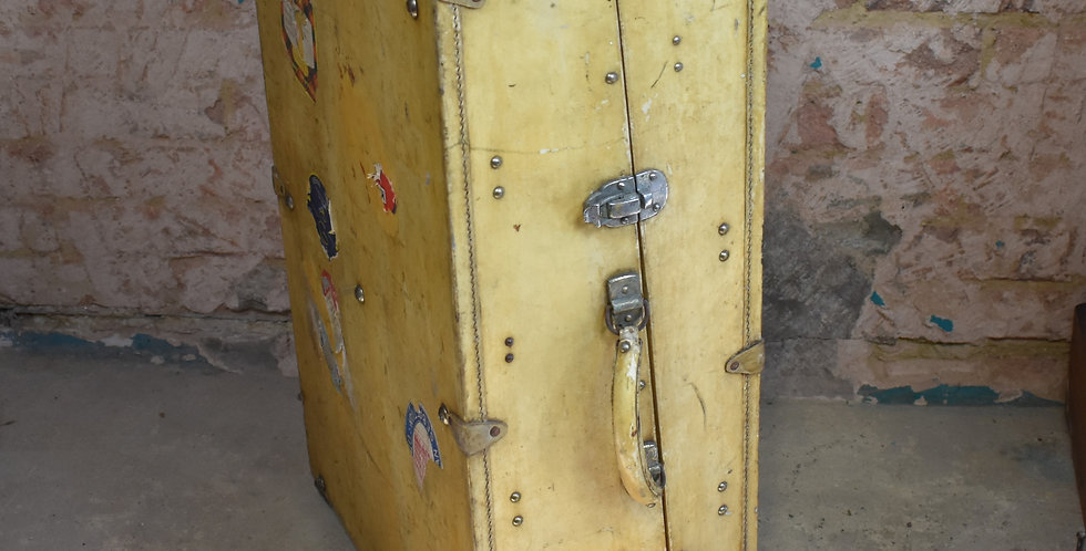 Antique John Pound Vellum Travel Wardrobe Trunk Case London Suitcase Calfskin
