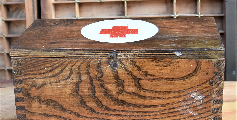 Vintage Oak First Aid Box Dovetail Medical Wooden Nursing Red Cross