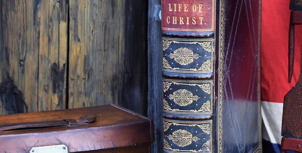 Antique 1873 Life of Christ Rev John Fleetwood Embossed Fine Leather Bound Book