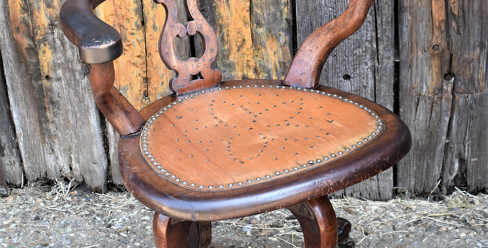 Antique Mahogany Swivel Office Chair Punched Seat Home Office Adjustable
